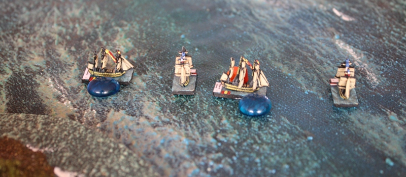 French ships cross the T of two Spanish ships